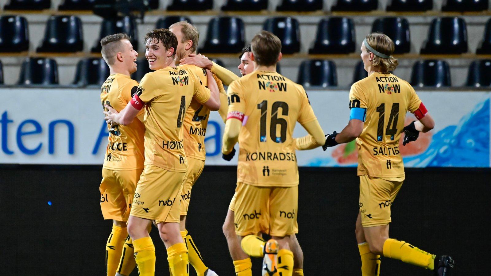 A-laget i kampen mot Rosenborg på Aspmyra i 2020. Bodø/Glimt.