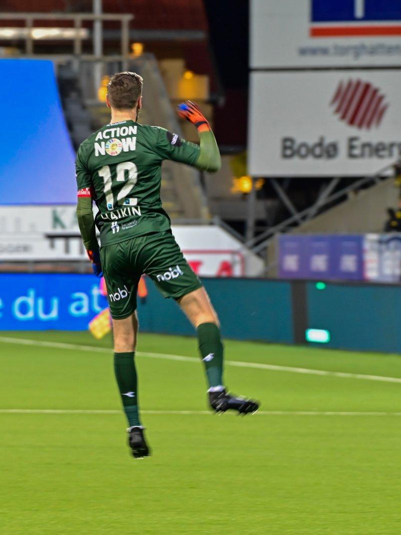 Glimt var tilbake i scoringsform mot Stabæk på søndag. Til keeper Haikins store glede. Foto: Kent Even Grunstad