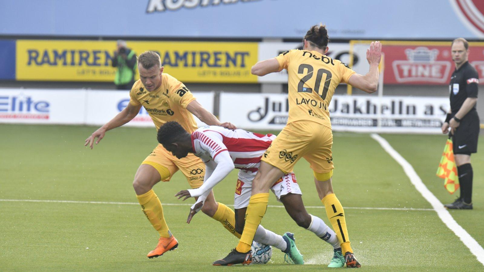 Bodø/Glimt mot TIL på Aspmyra. Tromsø vant kampen 1-0.