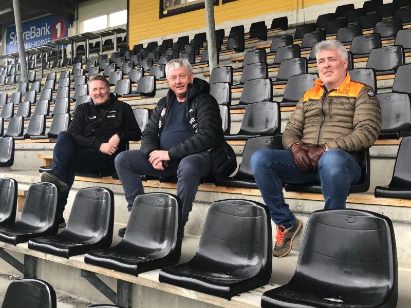 Styreleder i FK Bodø/Glimt, Inge Henning Andersen, Benn Eidissen og Tord Ueland Kolstad. Foto: Freddy Thoresen