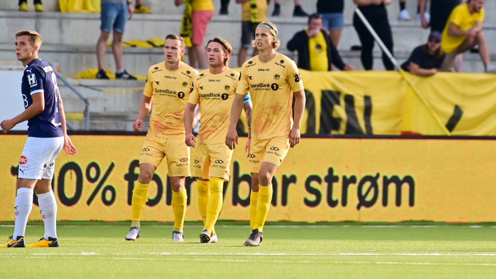 Marius Lode, Patrick Berg og Ulrik Saltnes i kampen mot Strømsgodset i 2020.
