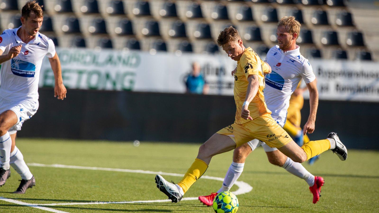 Kasper Junker i kampen mot Haugesund på Aspmyra 2020.