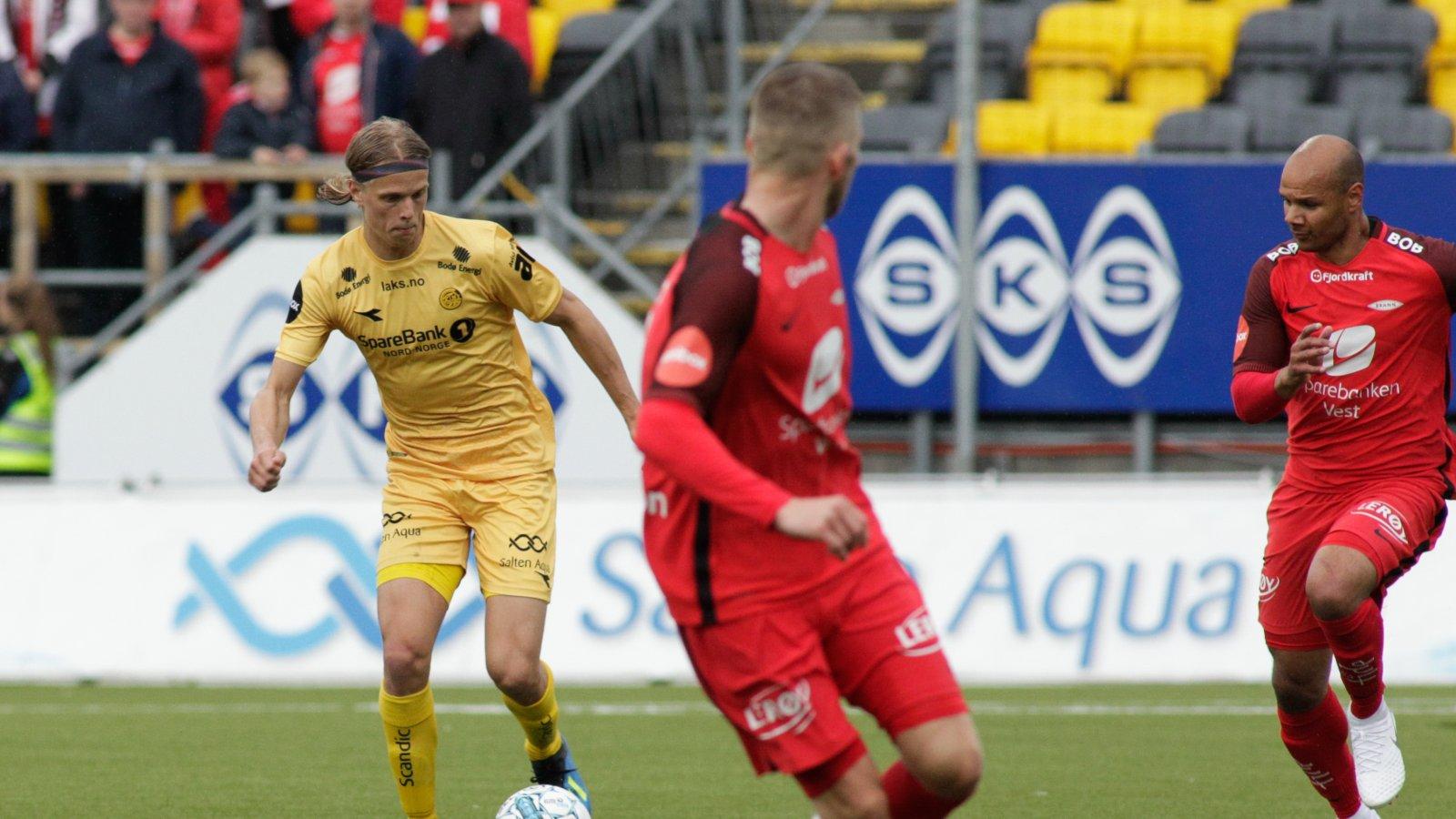 Ulrik Saltnes under Eliteseriekampen mellom Bodø/Glimt og Brann på Aspmyra stadion.