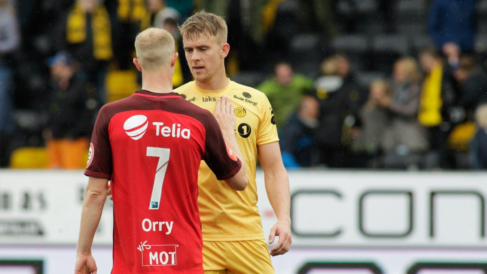 Kristian Fardal Opseth etter Bodø/Glimt og Brann på Aspmyra stadion.