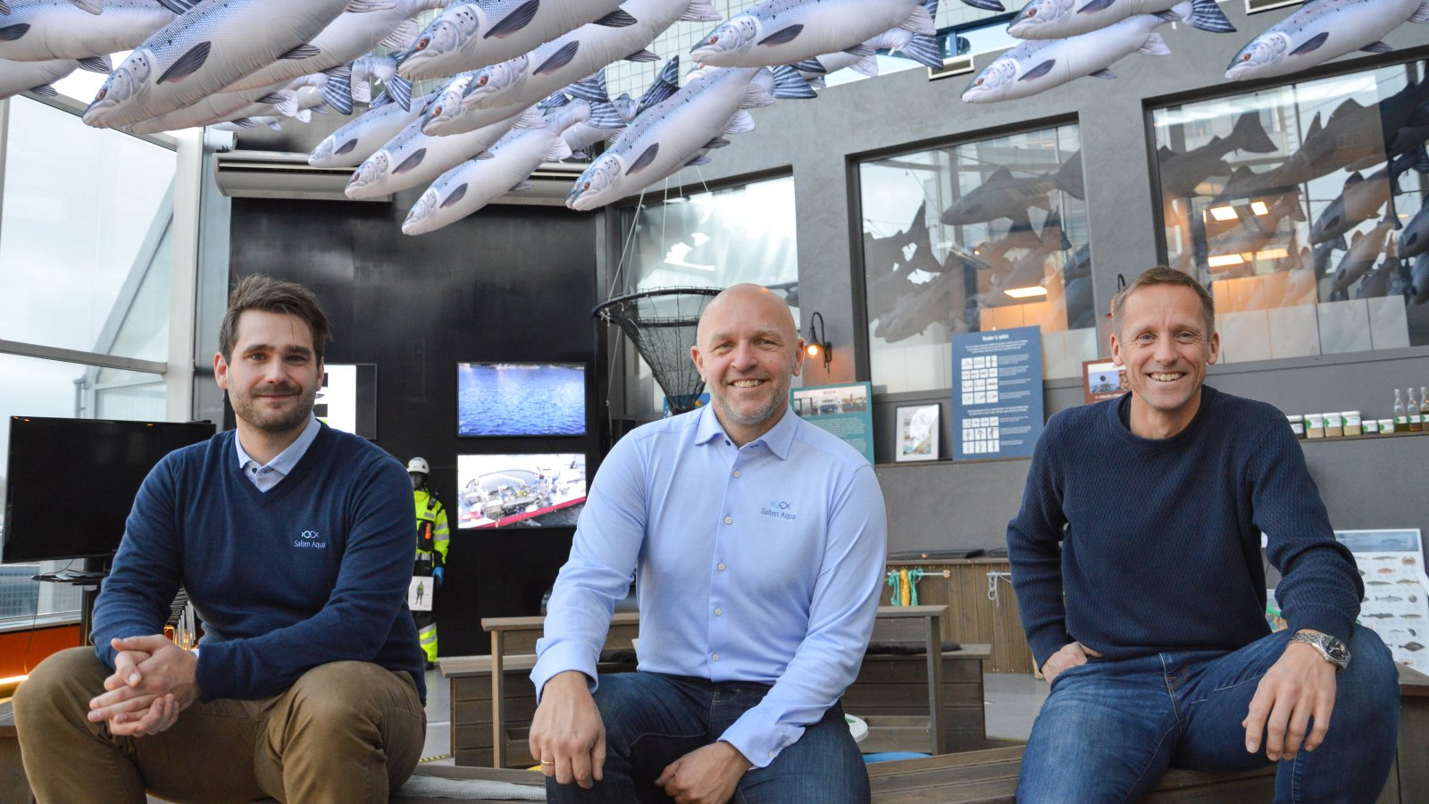 Salten Aqua ved controller John-Christian Andreassen, viseadministrerende direktør Jarle Solemdal og miljøsjef Asbjørn Hagen.