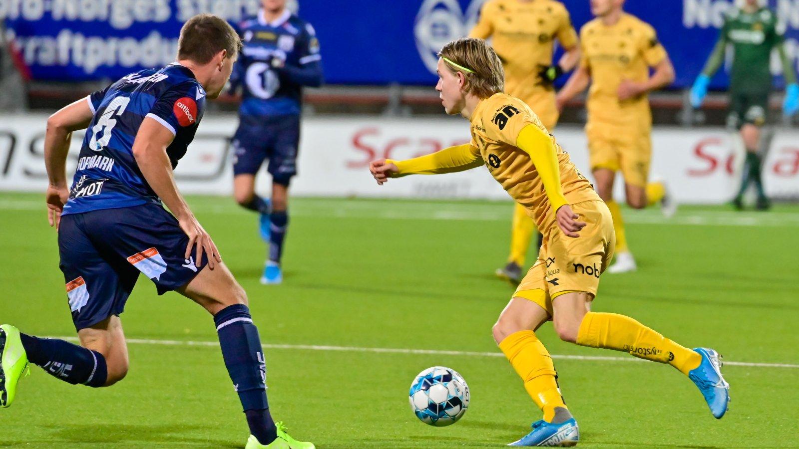 Jens Petter Hauge i kampen mot Kristiansund hjemme 2019.