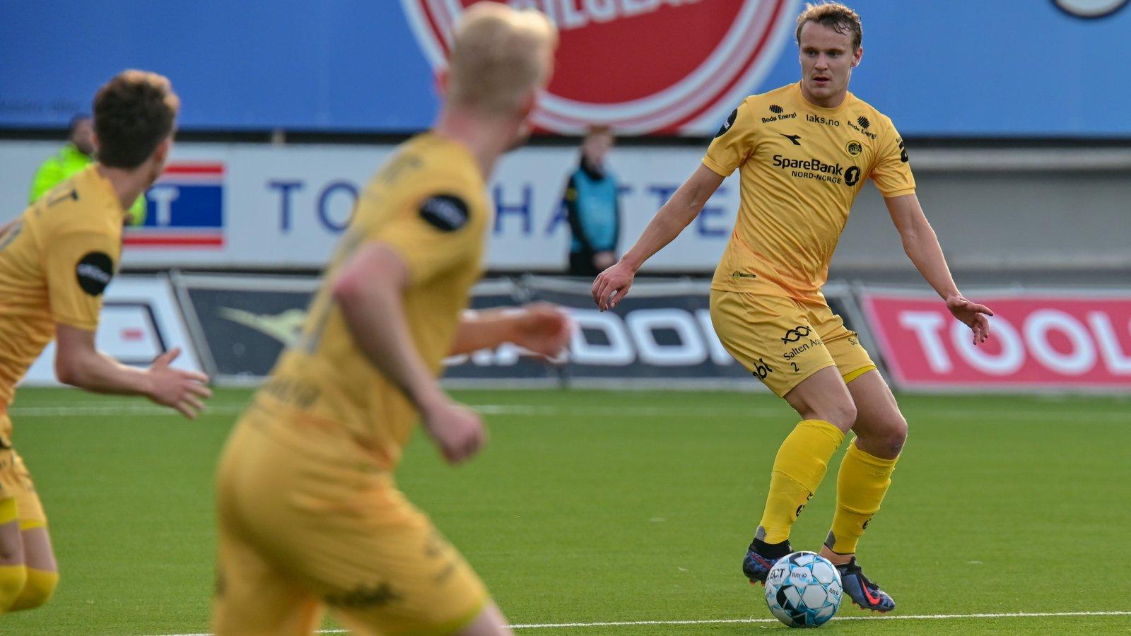 Marius Lode under kampen mot Brann på Aspmyra 2019.
