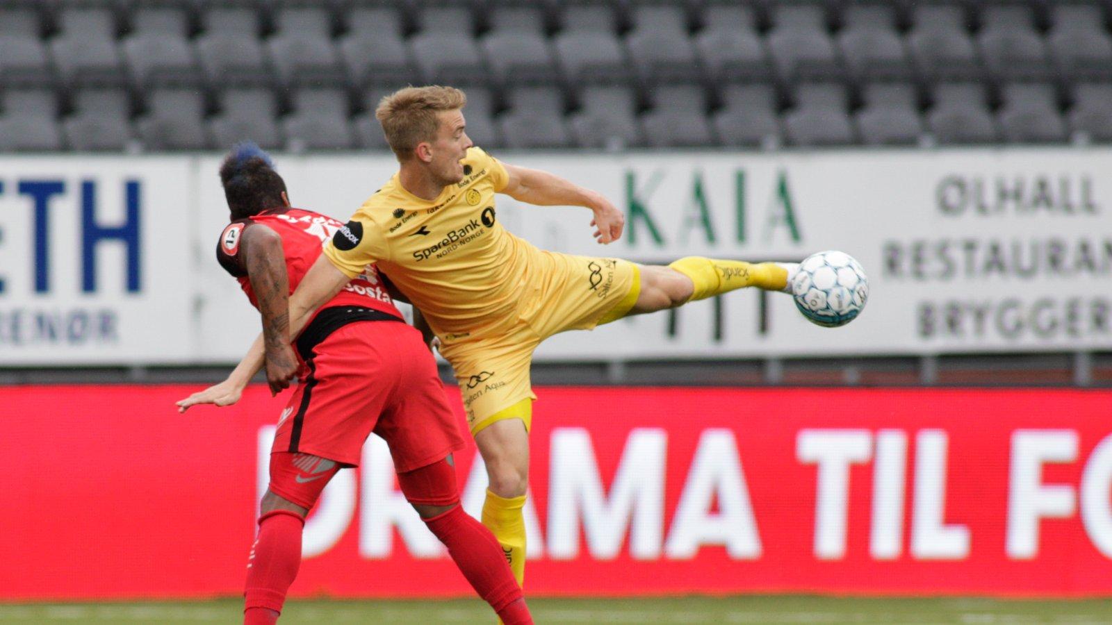 Kristian Fardal Opseth under Eliteseriekampen mellom Bodø/Glimt og Brann på Aspmyra stadion.