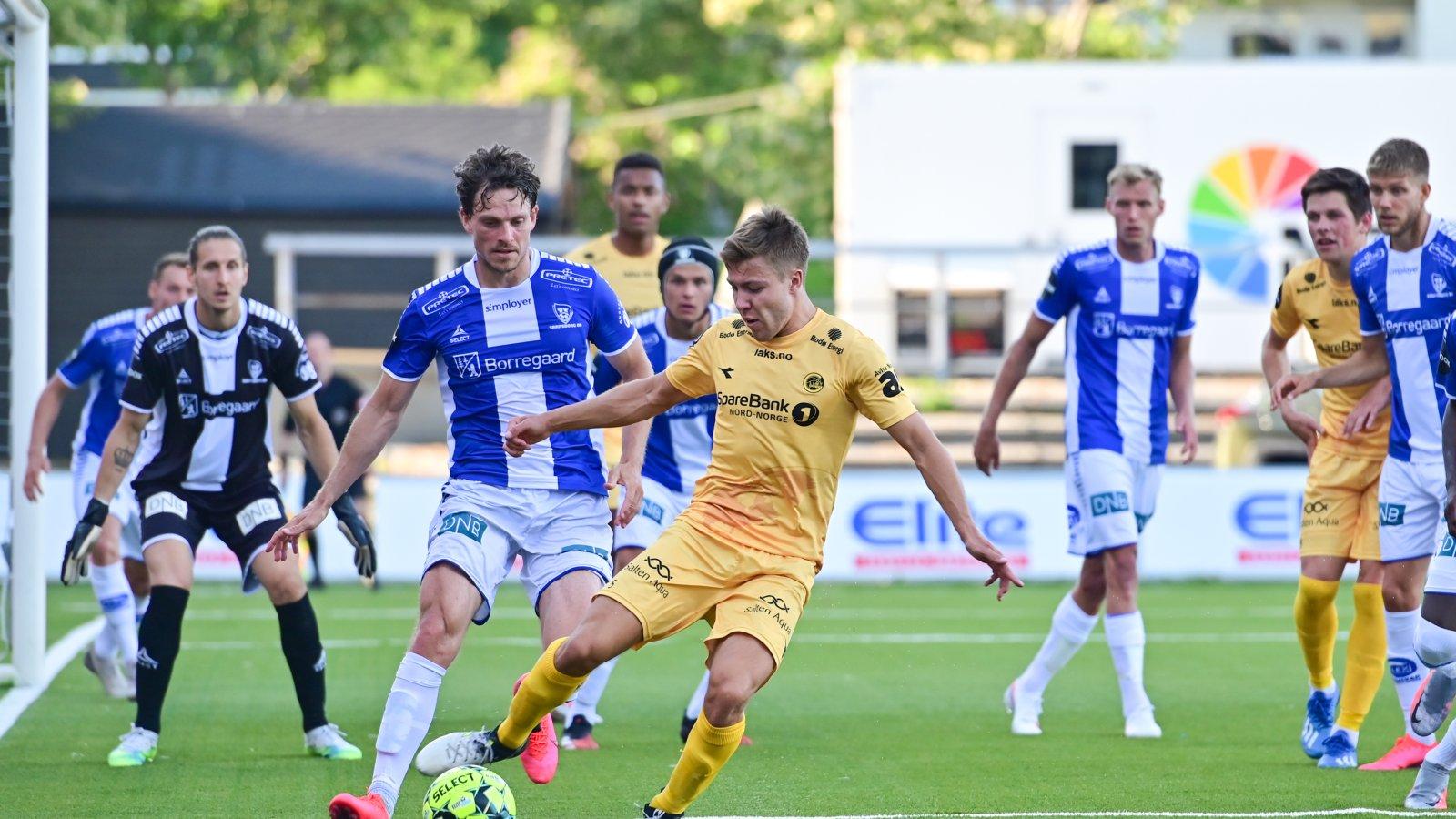 Fredrik André Bjørkan i kampen mot Sarpsborg 08 på Aspmyra Stadion i 2020.