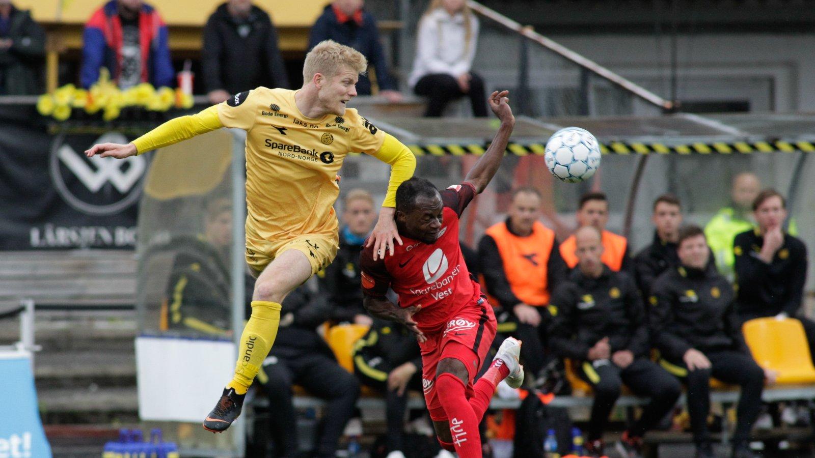 Emil Jonassen under Eliteseriekampen mellom Bodø/Glimt og Brann på Aspmyra stadion.
